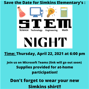 Join us on Microsoft Teams. Supplies provided for at home participation!  April 22, 2021 at 6 PM.