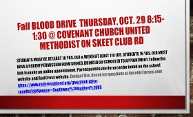 Information about SW High's blood drive