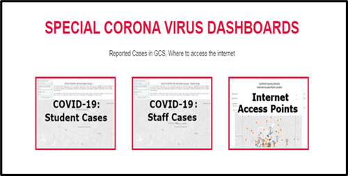 Image of Special Corona Virus Dashboards, reported cases Covid-19: Students, Staff, Internet Access Points