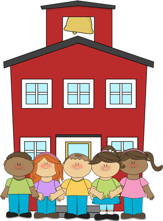 Multi racial kids in front of a school clipart