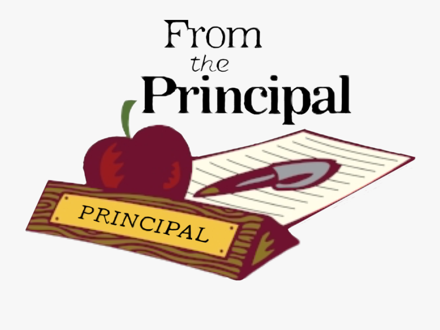 Deskplate that says Principal with an apple behind it and then a letter beside the apple