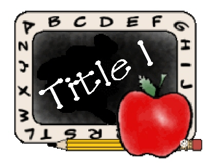Title I Clipart with a chalkboard, apple and pencil