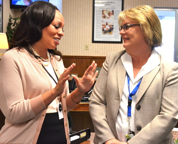 Dr.Contreras talks with Chief Finance Officer Angie Henry