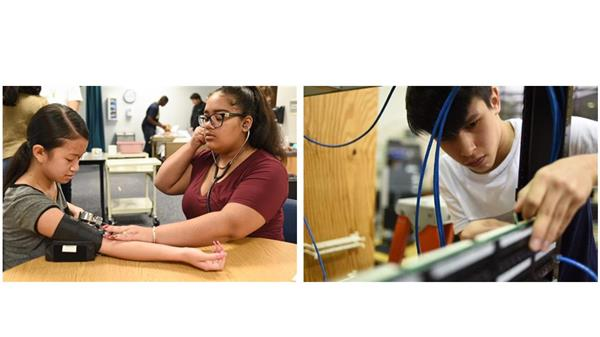 Left image, female student taking blood pressure of another female student.  Right Image, male student working on computer.