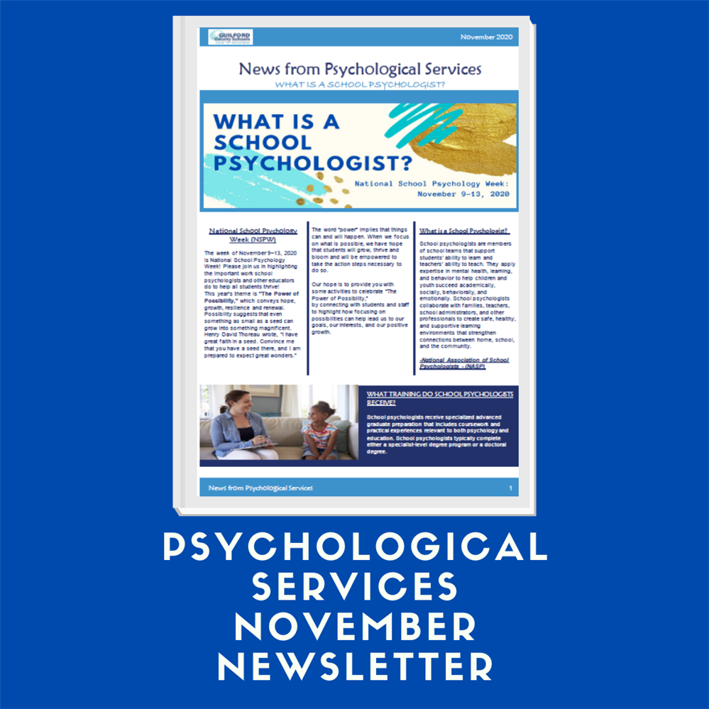 Psychological Services November Newsletter: What is a School Psychologist?