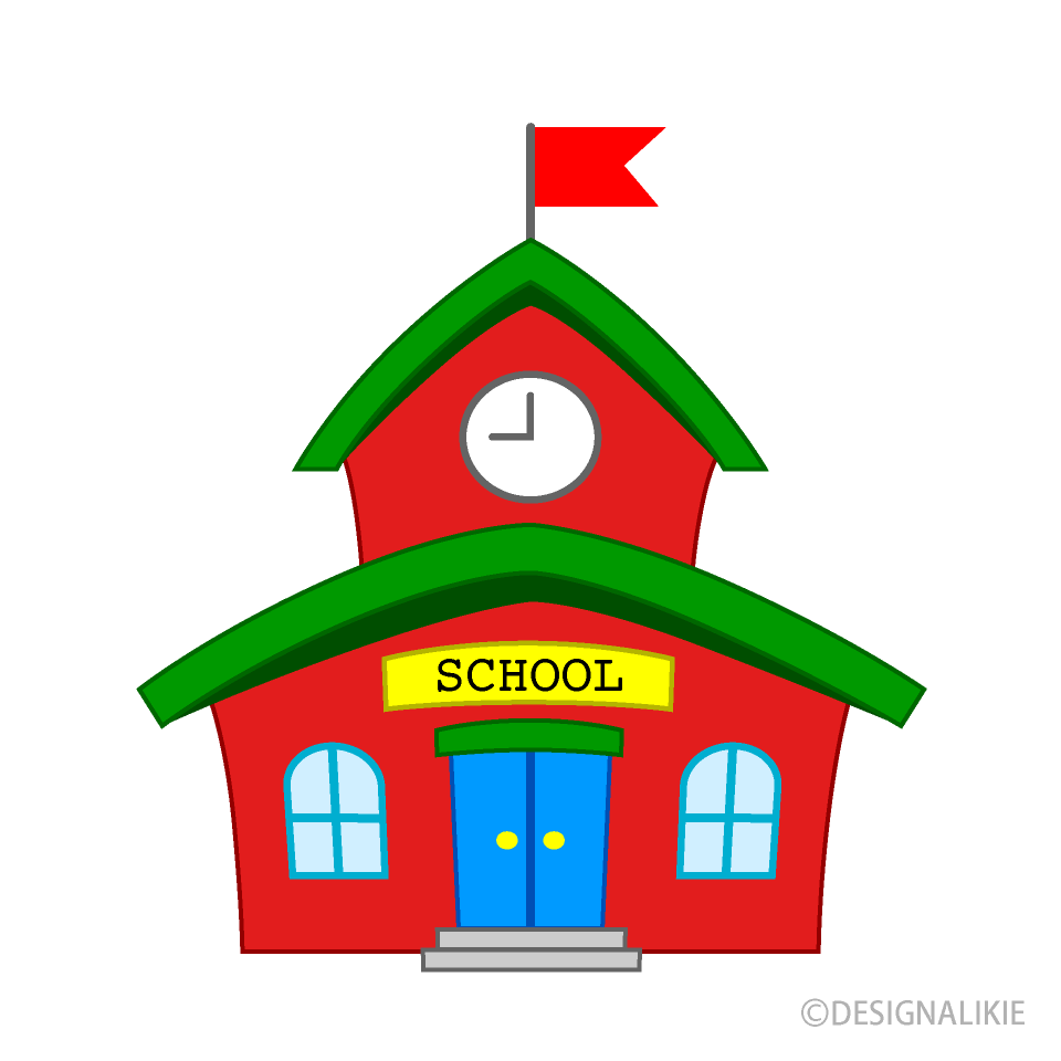 Cartoon image of a little red school house