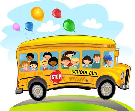 Cartoon of yellow school bus