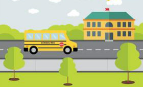 clip art of school bus and school building
