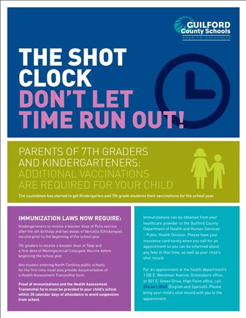 The Shot clock don't let time run out!  Parents of 7th graders additional vaccinations are required for your child