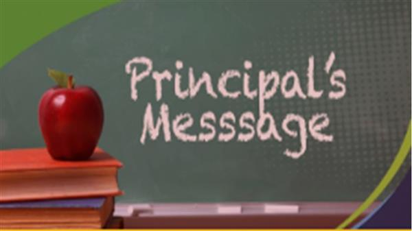 Principal's message icon with chalkboard apple and books in background