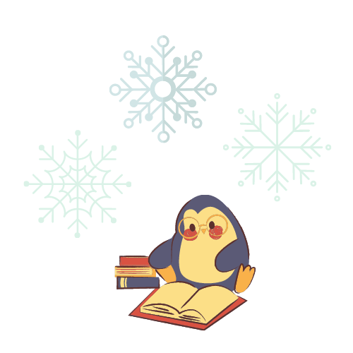 penguin reading book with snowflakes over him