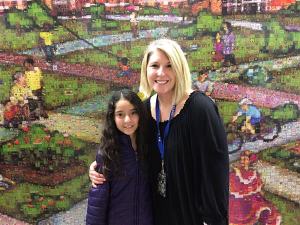 Jennifer Suarez and Melissa Burrell at Moses Cone Hospital Mural